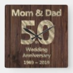 Mom and Dad 50th Wedding Anniversary 2019 Square Wall Clock