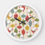 Retro Vintage Country Christmas Holiday Large Clock