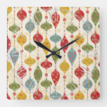 Retro Vintage Country Christmas Holiday Square Wall Clock