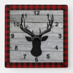 Rustic Wood Old Fashion Christmas Vintage Country Square Wall Clock