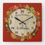 Vintage Rustic Look Christmas Holiday Square Wall Clock