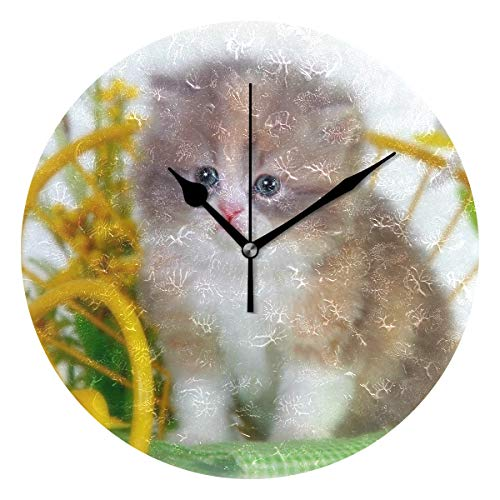 Ladninag Wall Clock Kitten Bench Silent Non Ticking Decorative Round Digital Clocks Indoor Outdoor Kitchen Bedroom Living Room