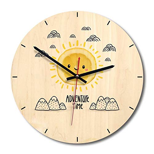 FlorLife Silent Quartz Decorative Wall Clock Non-Ticking Vintage Rustic Country Style Cute Round Battery Operated Clock for Living Room Kitchen Home Office(Free Time)