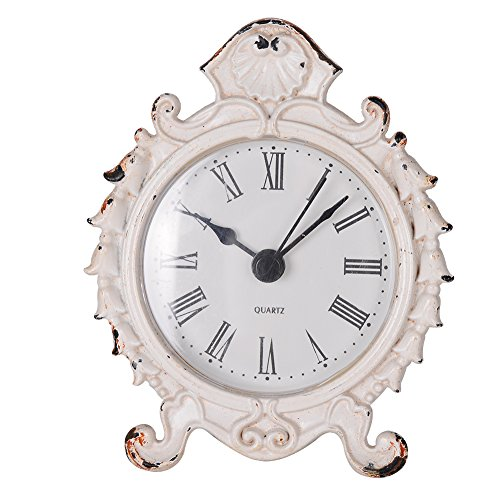 "NIKKY HOME Baroque Style Pewter Quartz Round Table Clock 3.12"" by 1.35"" by 3.87"", White"
