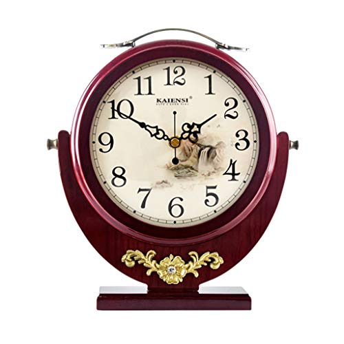HAOFAY Double-Sided Wooden Clock, European-Style Mute Retro Desk Clock, Decorative Living Room Bedroom Bedside Clock