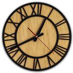 Rustic Wall Clock Easy To Read – Silent Non-Ticking Wall Clock – 12 Inch Light Brown Wall Clock Battery Operated – Wooden Wall Clock For Living Room Decor – Kitchen Clock – Wall Decor For Bedroom