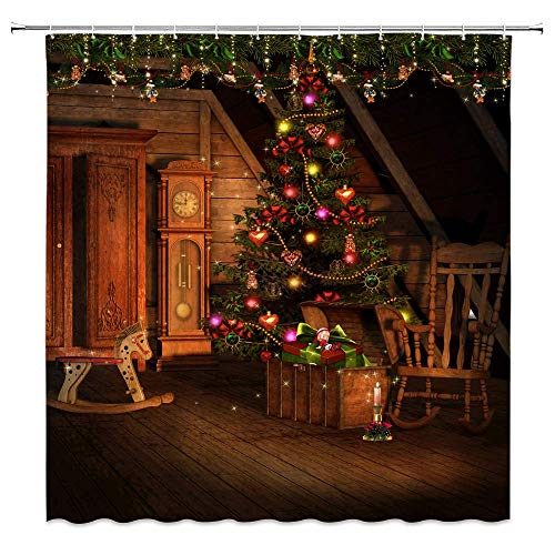 Christmas Shower Curtain Decor, Decorated Christmas Tree Gift Grandfather Clock Cabinet Wooden Horse Chair, 70 x70 Inches Waterproof Mildew Resistant Polyester Fabric Machine Washable With 12pcs Hooks