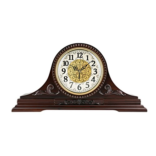 ZYANZ Retro Solid Wood Mantel Clock, Silent Desk Shelf Clock Battery Powered (Size : 18.5″/46.5x24cm)