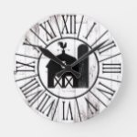 Black Barn Vintage White Wood Country Farmhouse Round Clock