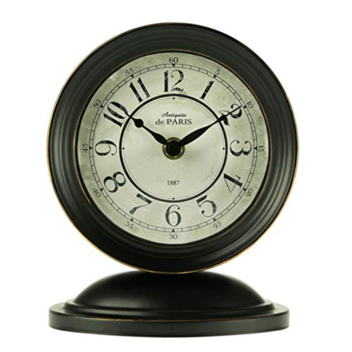 Desk Clock Table Clock for Living Room Decor Bedrooms Bathroom Small Battery Operated Analog European Rustic Non-Ticking Silent Vintage Decorative (Color : A)