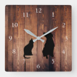 Cat and dog  silhouettes pets rustic wood square wall clock