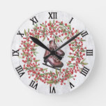 Christmas Holiday Rustic Wreath and Skates Round Clock