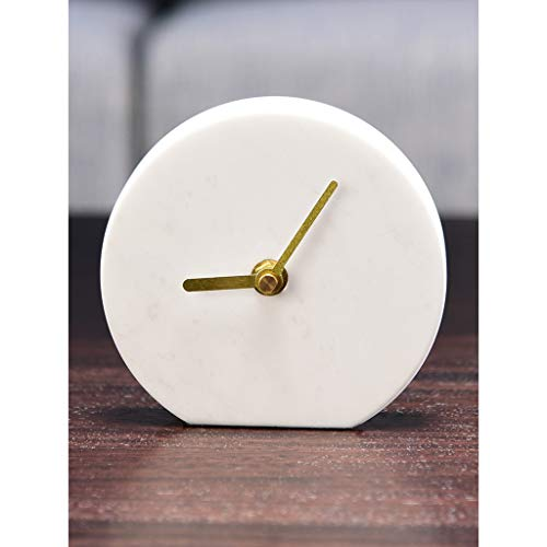 Desk Clock Table Clocks for Living Room Decor Bedroom Small Round Battery Operated Analog Minimalist Modern Simple Non-Ticking Silent Quartz Marble (Color : C)
