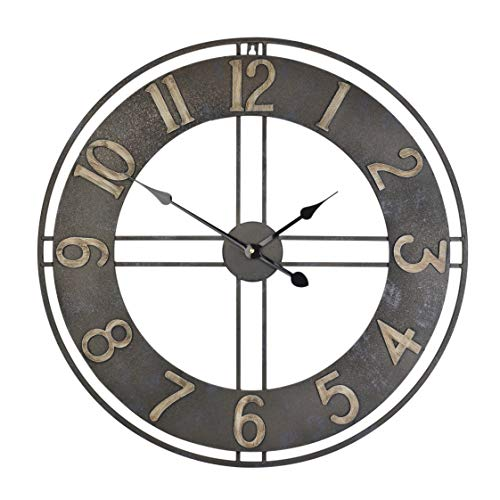 23.6-Inch Oversized Rustic Vintage Metal Silent Non-Ticking Battery Operated Decorative Wall Clock with Large Arabic Numerals