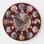 Family Photo Collage 13 Instagram Pictures | Plaid Large Clock
