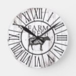 Farm Fresh Milk Cow White Wood Country Farmhouse Round Clock