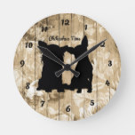 Floral Wood Faux Chihuahua Silhouette Wall Clock