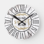 Shabby White Wood Country Farmhouse Home Sweet Round Clock