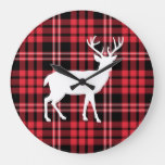 White Stag Christmas Red Tartan Plaid Pattern Large Clock