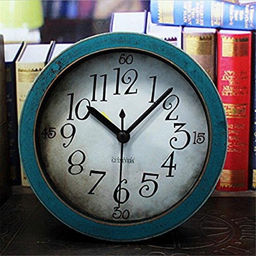 Usany 5 inch Green Analog Table Clock Arabic numbers Vintage Wood Pattern Silent Non-ticking Quartz Desk Clock Alarm Clock Round Desk Clocks 3D Clock