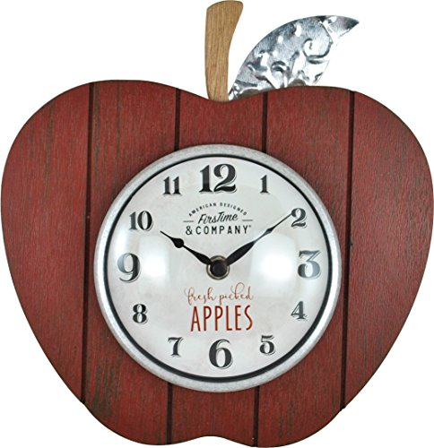 FirsTime 99682 Apple Orchard Wall Clock, Red
