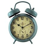 FirsTime 25681 Teal Double Bell Alarm Tabletop Clock, Aged