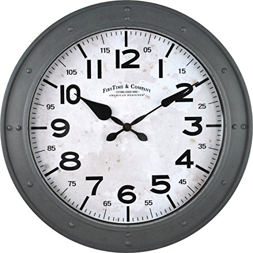 FirsTime 99680 Donovan Wall Clock, Gray