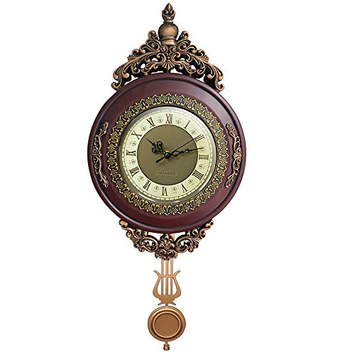 Giftgarden Vintage Wall Clock Non Ticking – Silent Battery Operated Quartz Movement Pendulum, Retro Style for Office Kitchen Living Room Indoor Decorative Clocks