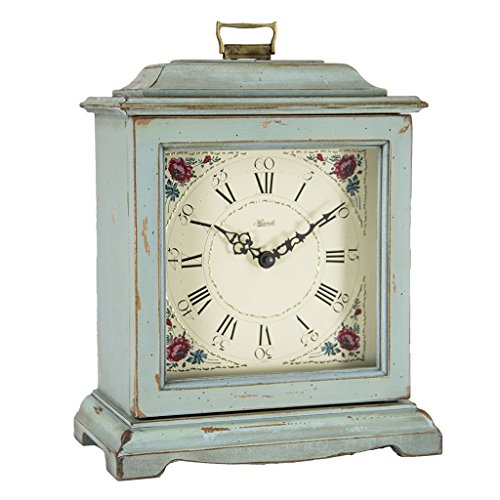 Qwirly Store: Austen Bracket-Style Quartz Mantel Clock by Hermle 22518LBQ – Classic Decorative Antique Style Table Clock with Westminster Chime Movement – Light Blue