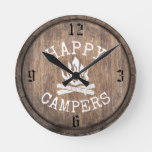 Camping Family Happy Campers Rustic Vintage Wood Round Clock