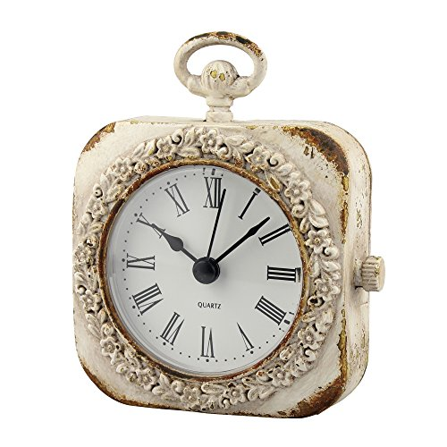 Stonebriar SB-6080A Cottage Small Weathered White Tabletop Clock