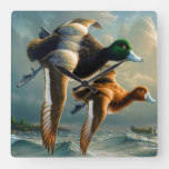 Ducks flying over the ocean and a small boat below square wall clock