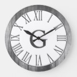 Farmhouse Rustic White & Faux Wood Gray Numerals Large Clock