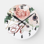 Personalized Wall Clock Geometric Garden Rose Anem