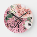 Personalized Wall Clock Geometric Garden Rose Glit