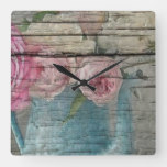 Shabby country, home, shabby chic, country chic,ru square wall clock