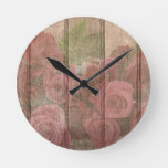 Vintage Shabby Chic Faded Red Roses Round Clock