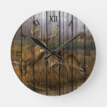 Whitetail Deer At Creek Autumn Season Round Clock