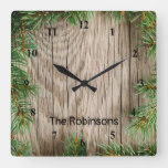 Wood Background with Pine Border Square Wall Clock
