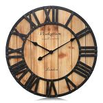 Westzytturm Large Rustic Wood Wall Clocks Battery Operated Non Ticking Quartz Movement Silent Exact Time Easy to Read Classic Art Antique Home Decor for Living Room Office Mantel (Clear, 24 inches)