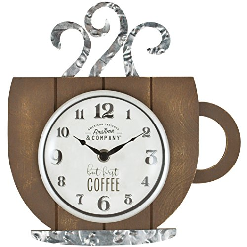 FirsTime 99701 Coffee House Wall Clock, Brown