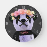 Cute Chalkboard Boho Panda Bear Nursery Wall Clock