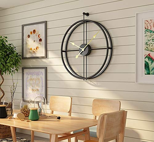 Univer-Co Modern 3D Wall Clocks Battery Operated Decorative 20″x24″ Round Iron Metal Clock for Living Room, Bedroom, Office (Black)