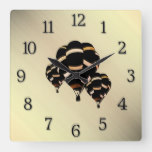 Hot Air Balloons Rustic Look with Black Numbers Square Wall Clock