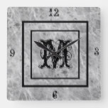 Monogram Rustic Stone look Distressed Square Wall Clock