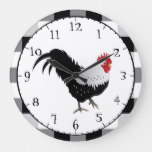 Rooster with Black White Check Large Clock