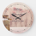 Rustic Milk Can with Wheat and Flowers Wedding Large Clock