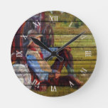 Rustic Watercolor Traveling Cowboy  Art Painting Round Clock