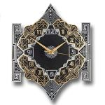 The Metal Foundry 'Empire' Art Deco Style D?cor Metal Wall Clock. Cast English Brass and Aluminum Hand Polished in England. Retro Vintage Designer Hanging Silent Silver and Gold (Empire Design)