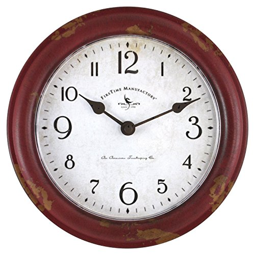 FirsTime 25685 Red Patina Wall Clock Distressed